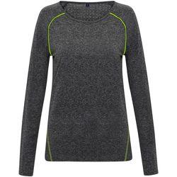 Textiel Dames T-shirts met lange mouwen Tridri TR040 Zwart gemêleerd