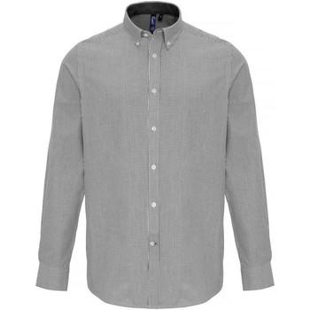 Textiel Heren Overhemden lange mouwen Premier PR238 Wit/Grijs