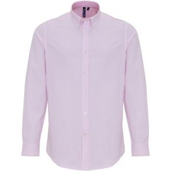 Textiel Heren Overhemden lange mouwen Premier PR238 Wit/Roze