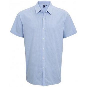 Textiel Heren Overhemden korte mouwen Premier PR221 Lichtblauw/Wit
