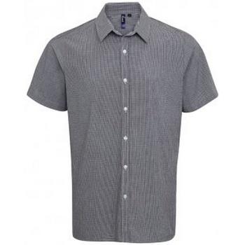 Textiel Heren Overhemden korte mouwen Premier PR221 Zwart/Wit