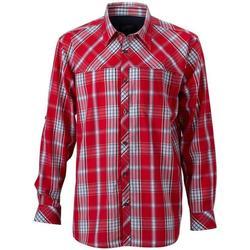 Textiel Heren Overhemden lange mouwen James And Nicholson  Rood/Zwaar