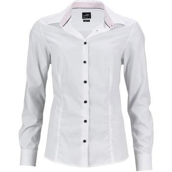 Textiel Dames Overhemden James And Nicholson  Wit/rood
