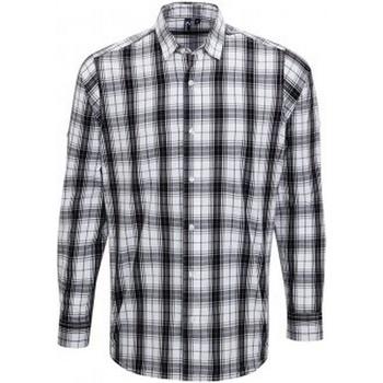 Textiel Heren Overhemden lange mouwen Premier PR254 Zwart/Wit