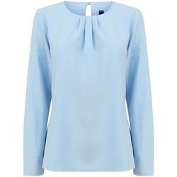 Textiel Dames T-shirts met lange mouwen Henbury HB598 Lichtblauw