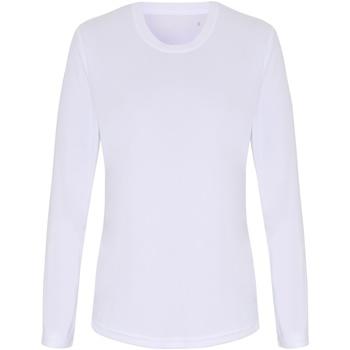 Textiel Dames T-shirts met lange mouwen Tridri TR060 Wit
