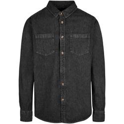 Textiel Heren Overhemden lange mouwen Build Your Brand BY152 Zwart