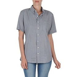 Textiel Dames Overhemden korte mouwen American Apparel RSACP401S Wit / Blauw