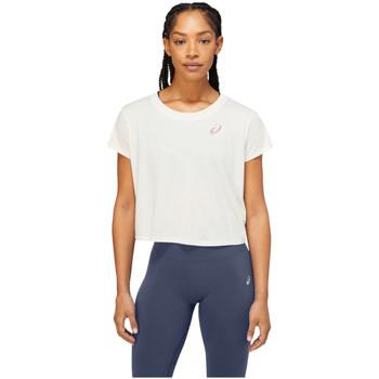 Textiel Dames T-shirts korte mouwen Asics Nagare SS Top Blanc