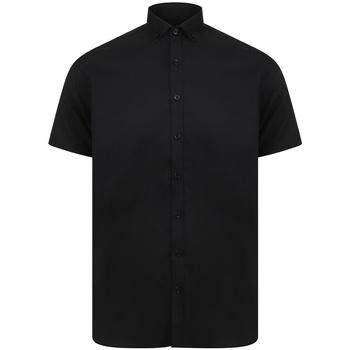 Textiel Heren Overhemden korte mouwen Henbury H517S Zwart