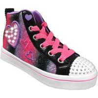 Schoenen Meisjes Hoge sneakers Skechers Twi-lites 2 heart gem Zwart / roze