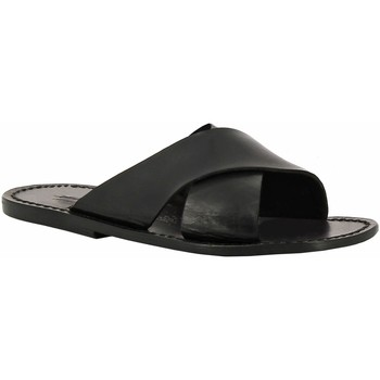 Schoenen Dames Leren slippers Gianluca - L'artigiano Del Cuoio 560 U NERO CUOIO nero