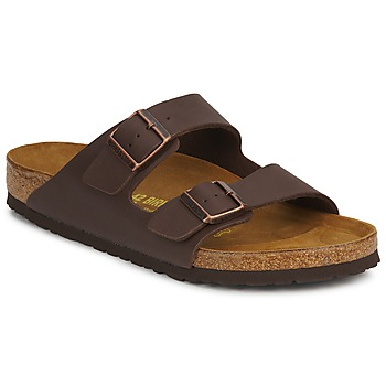 Schoenen Heren Leren slippers Birkenstock ARIZONA LARGE FIT Bruin / Donker