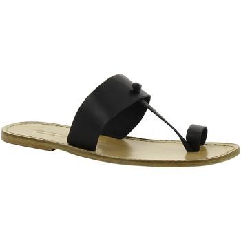 Schoenen Dames Leren slippers Gianluca - L'artigiano Del Cuoio 554 U NERO LGT-CUOIO nero