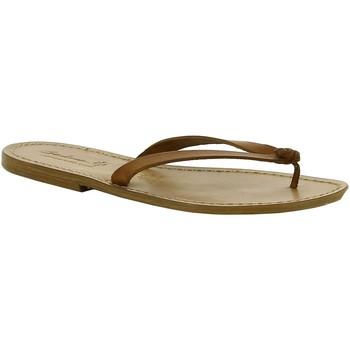 Schoenen Dames Leren slippers Gianluca - L'artigiano Del Cuoio 540 D CUOIO CUOIO Cuoio