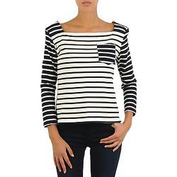 Textiel Dames T-shirts met lange mouwen Petit Bateau CARTABLE Marine / Wit