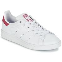 Schoenen Meisjes Lage sneakers adidas Originals STAN SMITH J Wit / Roze
