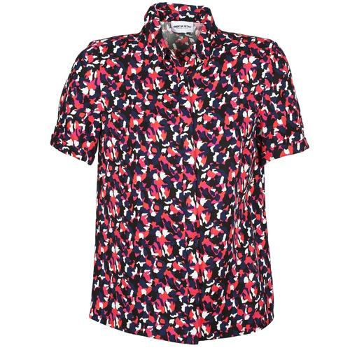 Textiel Dames Overhemden korte mouwen American Retro NEOSHIRT Zwart / Roze / Oranje