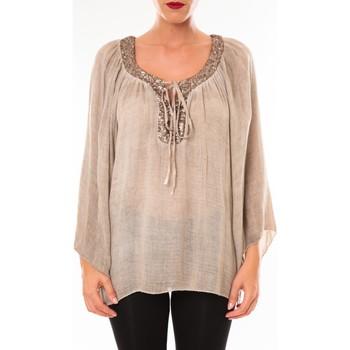 Textiel Dames Tops / Blousjes Tcqb Tunique TDI paillettes taupe Bruin