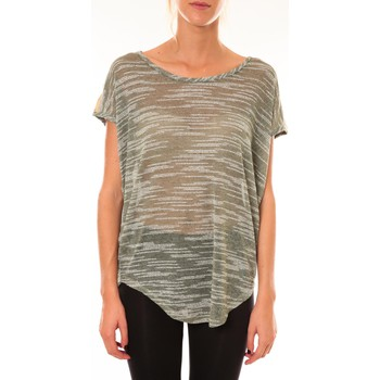 Textiel Dames T-shirts korte mouwen Dress Code Top à sequins R5523 vert Groen