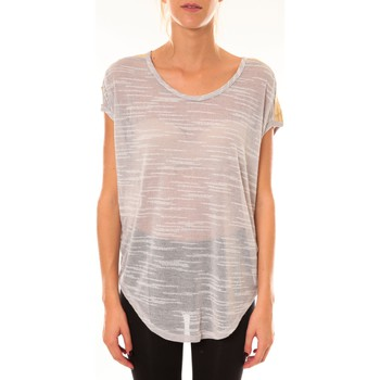 Textiel Dames T-shirts korte mouwen Dress Code Top à sequins R5523 gris Grijs