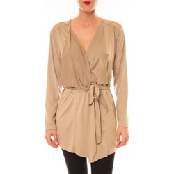 Textiel Dames Vesten / Cardigans La Vitrine De La Mode By La Vitrine Cardigan asymétrique Lola beige Beige