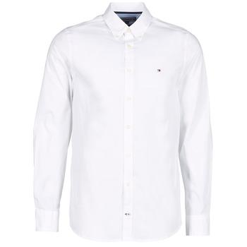 Textiel Heren Overhemden lange mouwen Tommy Hilfiger STRETCH POPLIN Wit