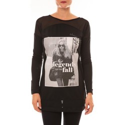 Textiel Dames T-shirts met lange mouwen La Vitrine De La Mode Tee Shirt Manches Longues MC1919 noir Zwart
