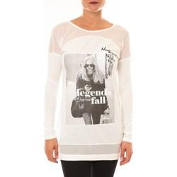Textiel Dames T-shirts met lange mouwen La Vitrine De La Mode Tee Shirt Macnhes Longues MC1919 blanc Wit