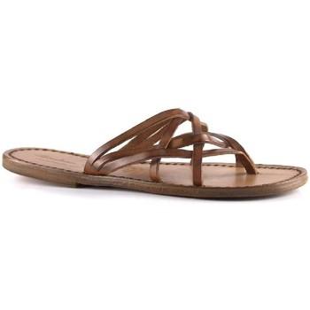 Schoenen Dames Leren slippers Gianluca - L'artigiano Del Cuoio 543 D CUOIO CUOIO Cuoio