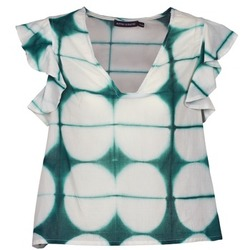 Textiel Dames T-shirts korte mouwen Antik Batik BAB Wit / Groen