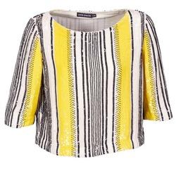 Textiel Dames Tops / Blousjes Antik Batik ZABOU Geel / Wit / Zwart