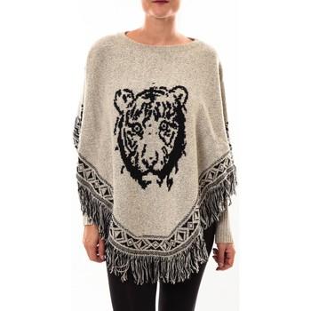 Textiel Dames Vesten / Cardigans Barcelona Moda Poncho 73017004 gris Grijs