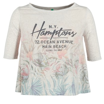 Textiel Dames T-shirts korte mouwen Benetton ESQUIQUO Wit / Multi