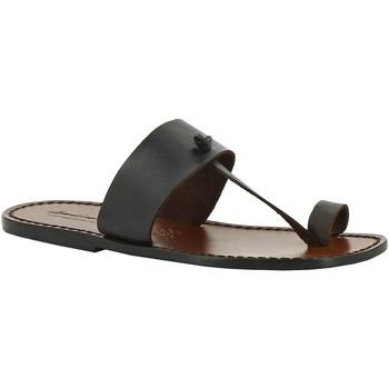 Schoenen Dames Leren slippers Gianluca - L'artigiano Del Cuoio 554 U MORO CUOIO Testa di Moro