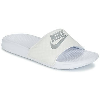 Schoenen Dames Leren slippers Nike BENASSI JUST DO IT W Wit / Zilver