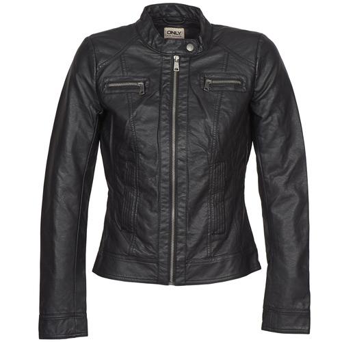 Textiel Dames Leren jas / kunstleren jas Only BANDIT Zwart