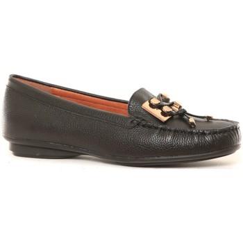 Schoenen Dames Mocassins Ilario Ferucci Mocassins en cuir Lilac noir Zwart