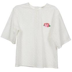 Textiel Dames Tops / Blousjes Manoush FLOWER BADGE Wit