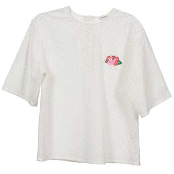 Textiel Dames Tops / Blousjes Manoush FLOWER BADGE Wit