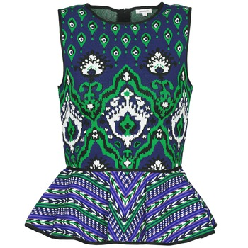 Textiel Dames Mouwloze tops Manoush JACQUARD OOTOMAN Blauw / Zwart / Groen