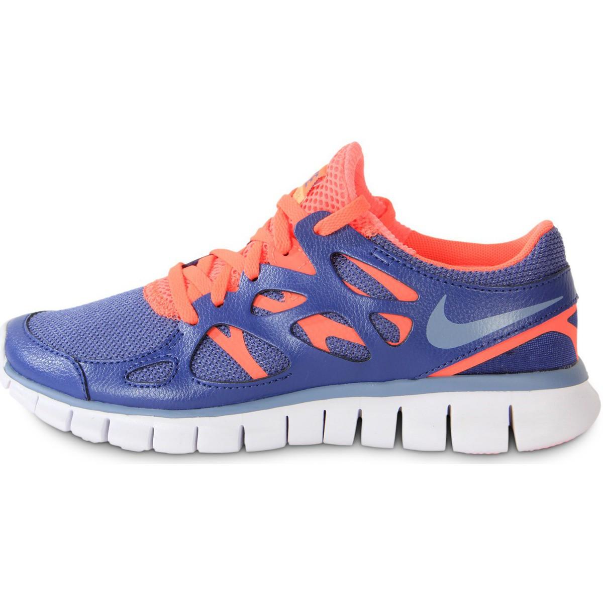 Nike Free Run damessneaker blauw en multicolor