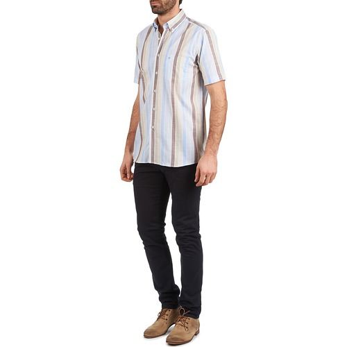 Pierre Cardin 539936240-130 Blauw / Beige Bruin - Gratis Levering Textiel Overhemden Korte Mouwen Heren 7599
