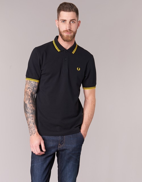 Fred Perry Slim Fit Twin Tipped Zwart / Geel - Gratis Levering CXiU8z