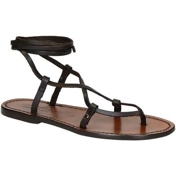 Schoenen Dames Sandalen / Open schoenen Gianluca - L'artigiano Del Cuoio 518 D MORO CUOIO Testa di Moro