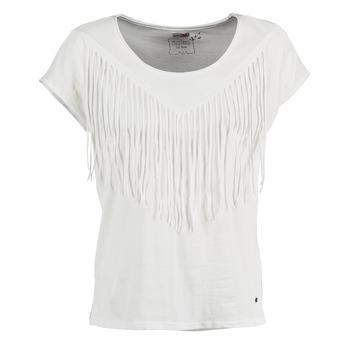 Textiel Dames T-shirts korte mouwen Mustang FRINGE Wit