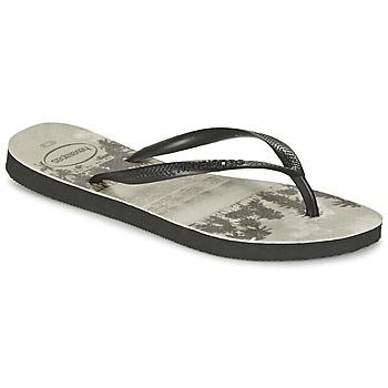 Schoenen Dames Teenslippers Havaianas SLIM PHOTOPRINT Zwart / Grijs