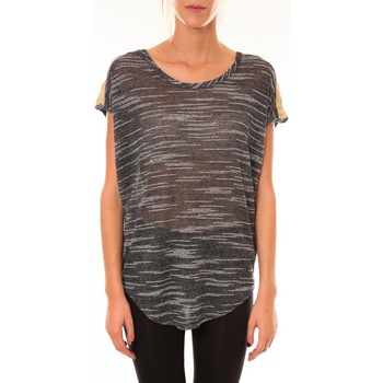 Textiel Dames T-shirts korte mouwen Dress Code Top à sequins R5523 anthracite Grijs