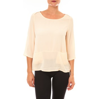 Textiel Dames T-shirts met lange mouwen La Vitrine De La Mode By La Vitrine Top K598 écru Beige