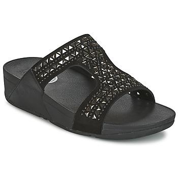 Schoenen Dames Leren slippers FitFlop CARMEL SLIDE Zwart